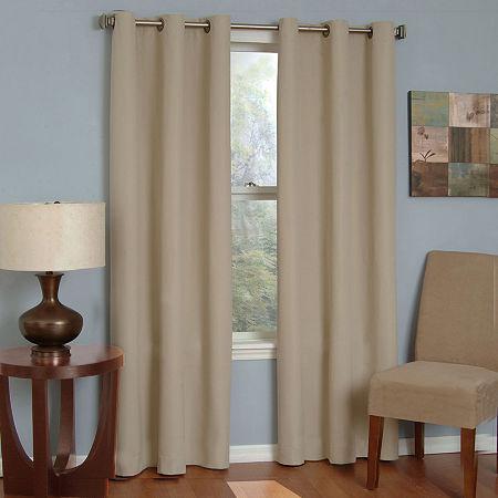 Eclipse Microfiber Energy Saving Blackout Grommet-Top Single Curtain Panel, One Size , White