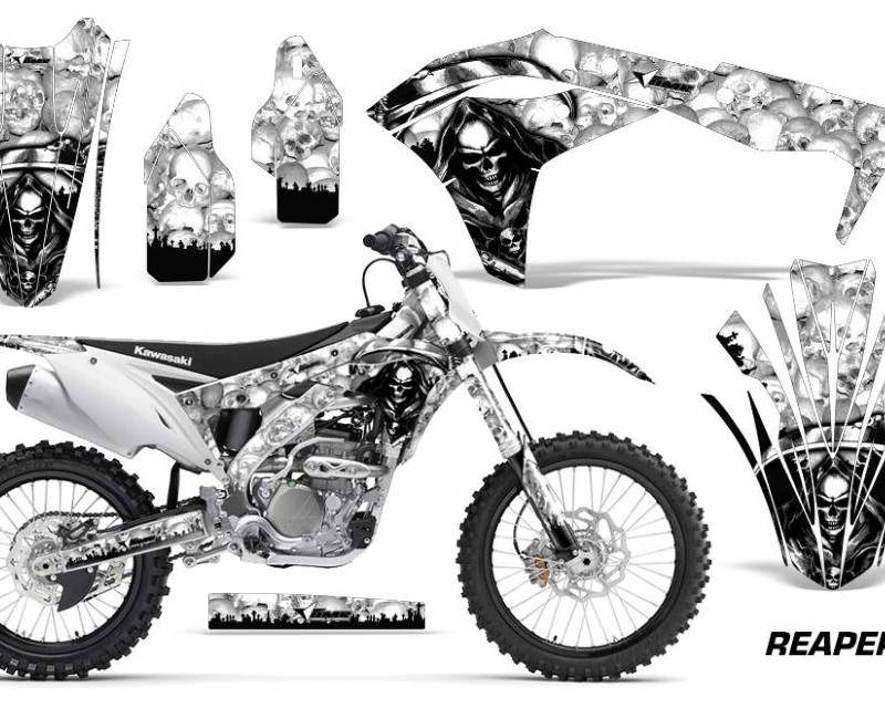 AMR Racing Dirt Bike Graphics Kit Decal Sticker Wrap For Kawasaki KXF250 2017-2018áREAPER WHITE