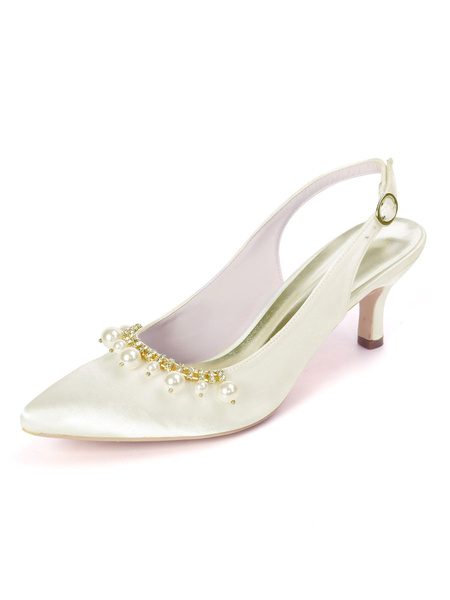 Milanoo Wedding Shoes White Satin Pearls Pointed Toe Kitten Heel Bridal Shoes