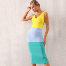 Adyce Colorblock Split Hem Bodycon Bandage Dress