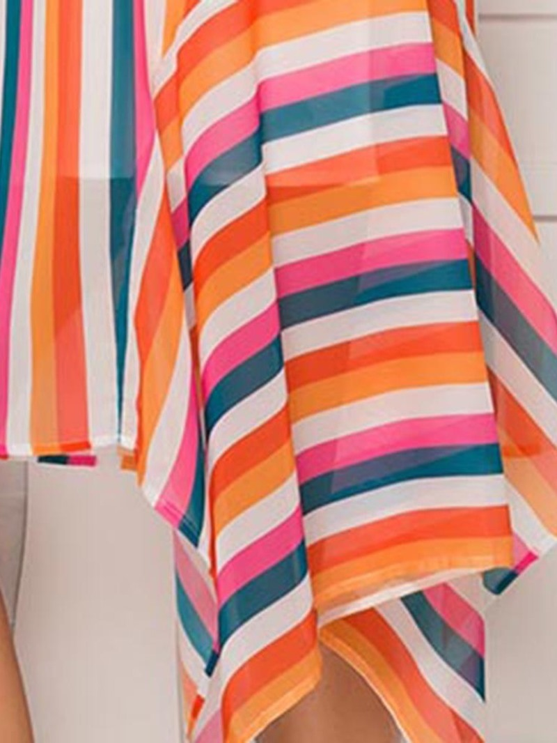 Ericdress Striped Asymmetric Sleeveless Spaghetti Strap Chiffon Dress