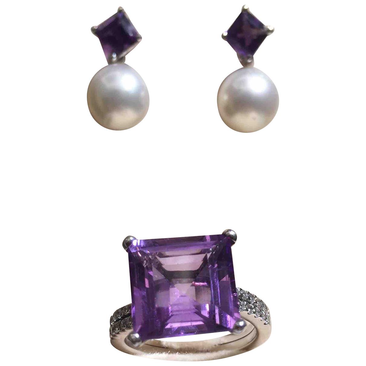 - Parure Amethyste pour femme en or blanc - violet