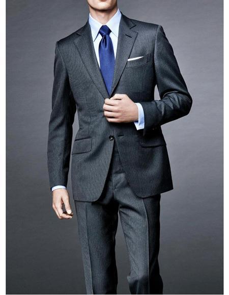 Mens Notch Lapel James Bond Spectre Two Piece Suit Charcoal Grey
