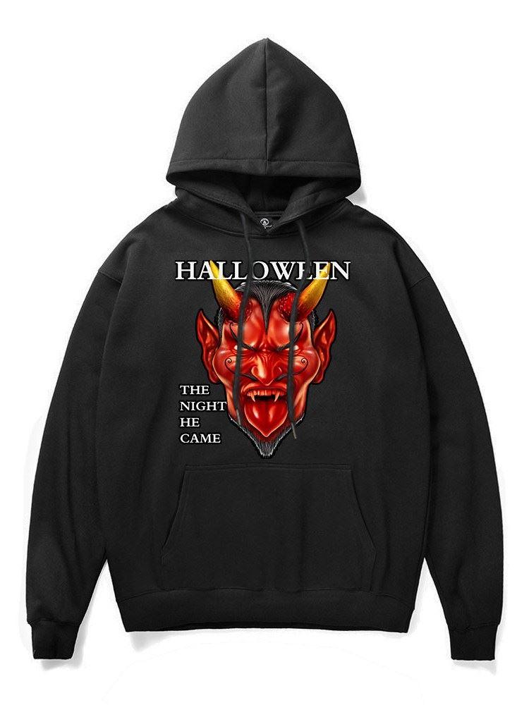 Realistic 3D Digital Print Terrible Red Devil Painted Pullover Hoodie Hooded Sweatshirt