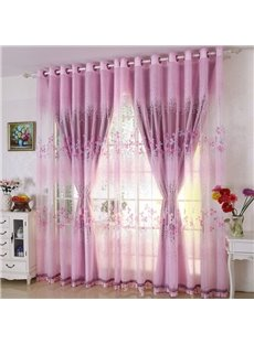 Pink Floral Pattern Princess Style Shading Sheer Beads Polyester Curtain
