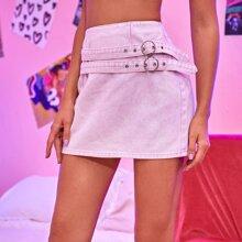 O-ring Buckle Straps Denim Skirt