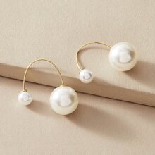 1pair Faux Pearl Decor Earrings