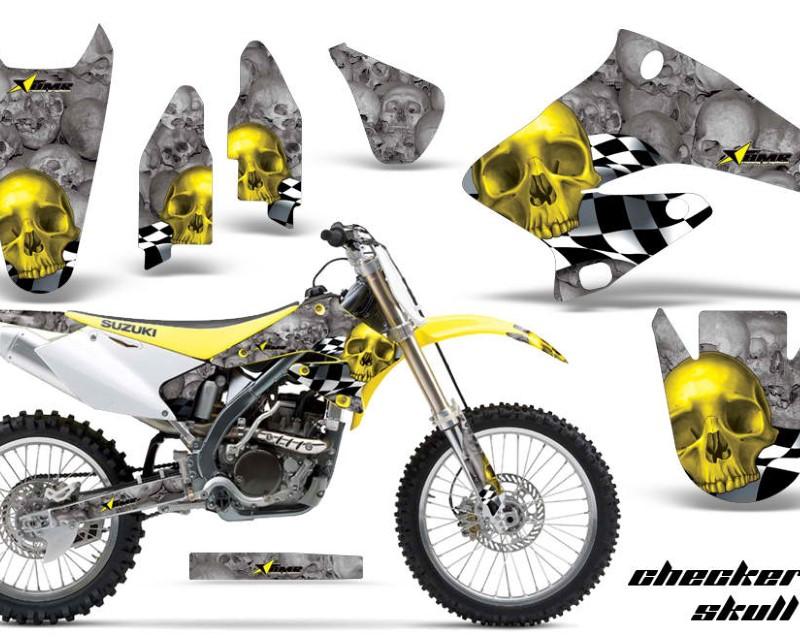 AMR Racing Dirt Bike Graphics Kit Decal Sticker Wrap For Suzuki RMZ250 2004-2006áCHECKERED YELLOW SILVER