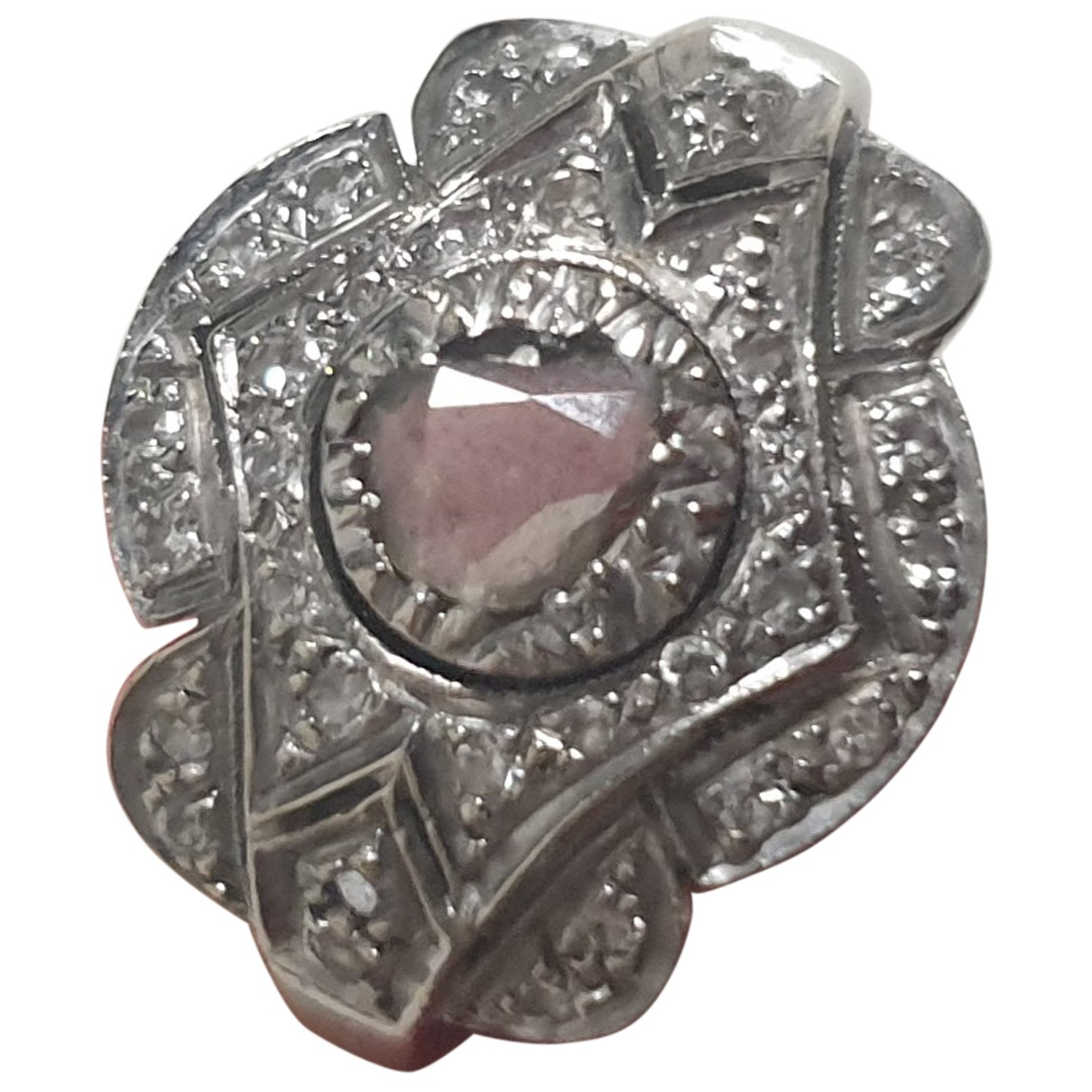Non Signe / Unsigned Art Deco Ring in  Weiss Weissgold