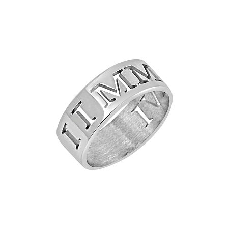 Personalized Roman Numeral Date Ring, 9 1/2 , White