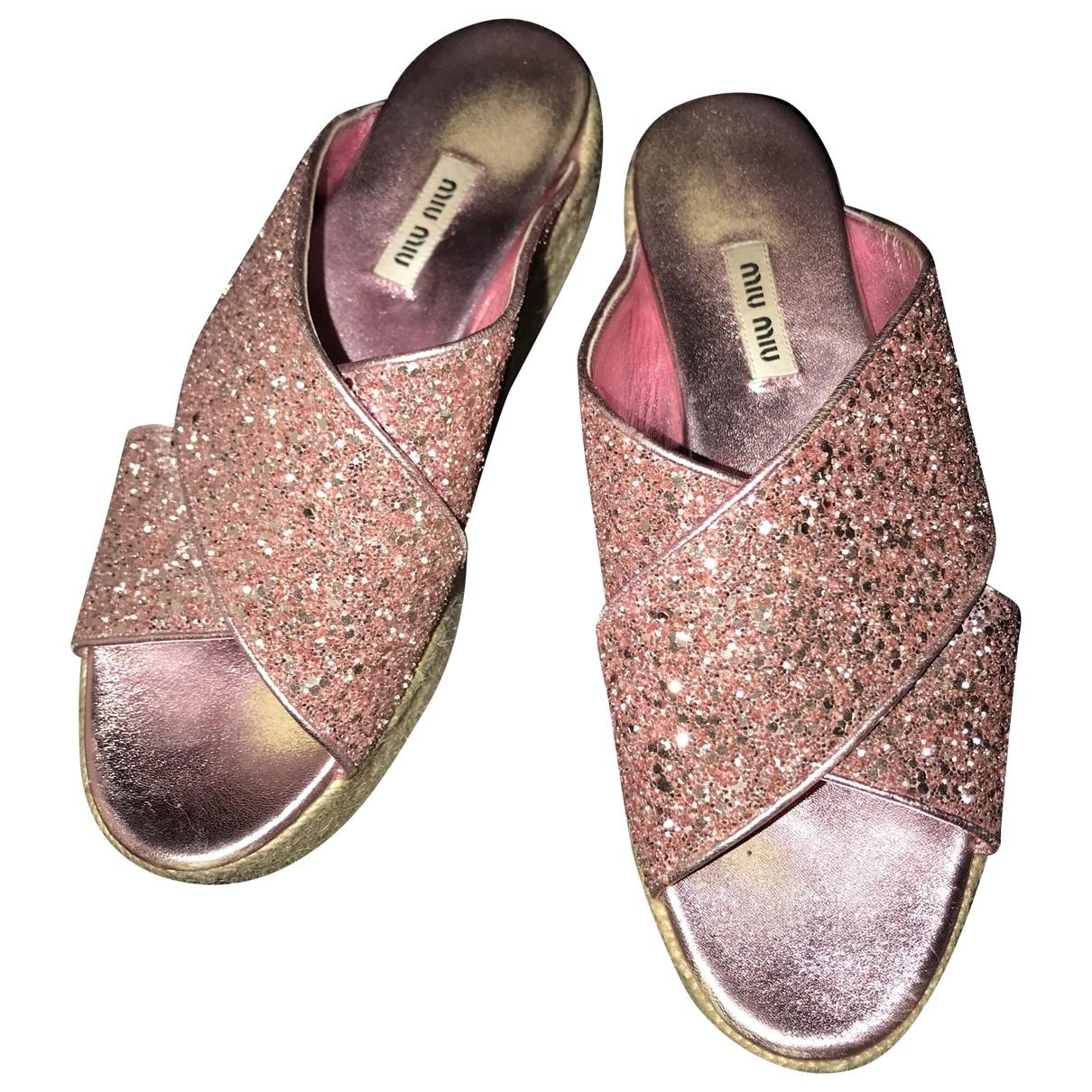 Miu Miu \N Pink Glitter Sandals for Women 38 EU