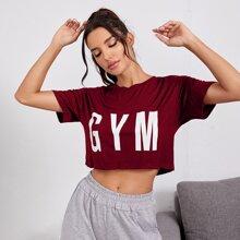 Crop Sports T-Shirt mit Buchstaben Grafik