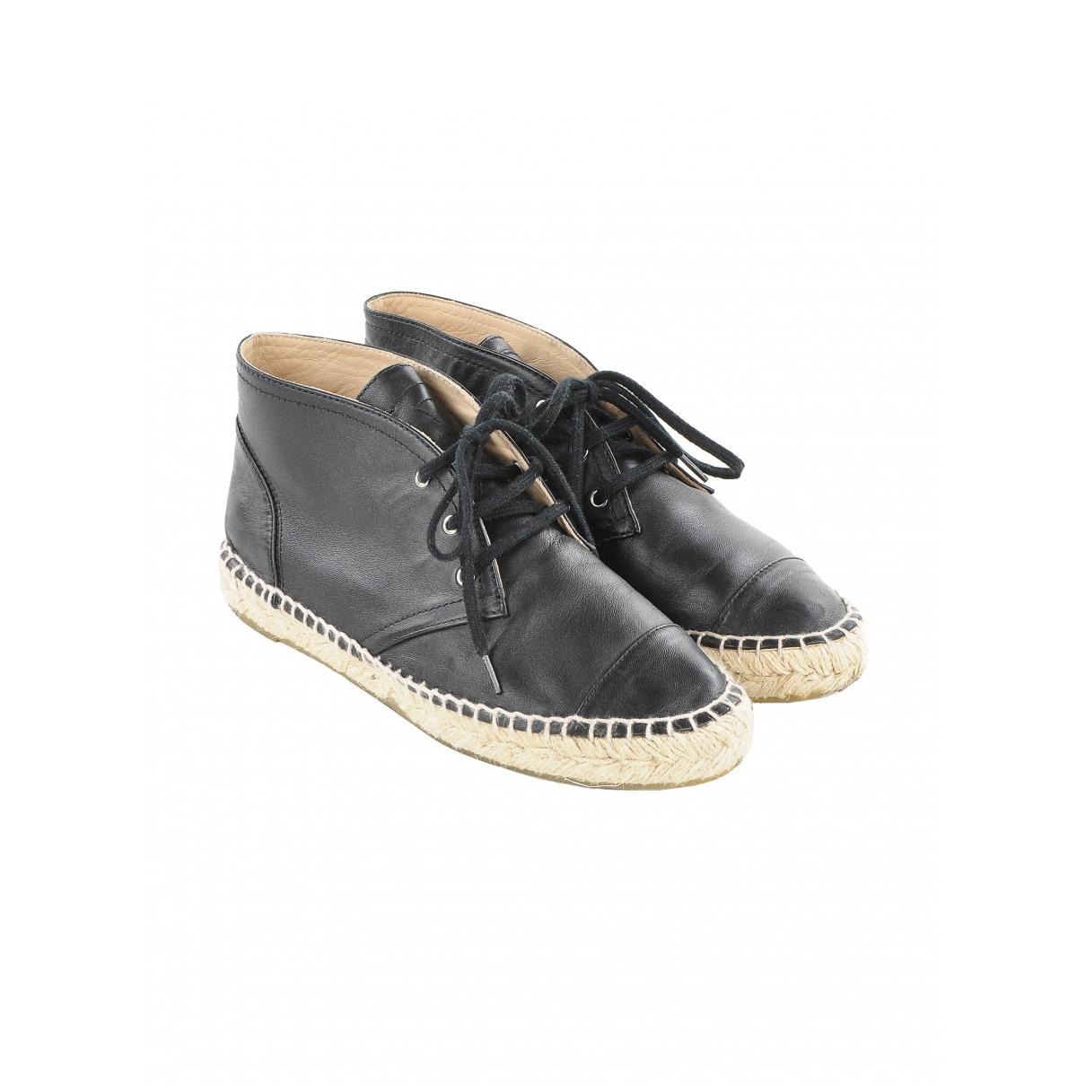 Chanel \N Black Leather Espadrilles for Women 38 IT