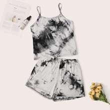 Ink Painting Print Cami Pajama Set