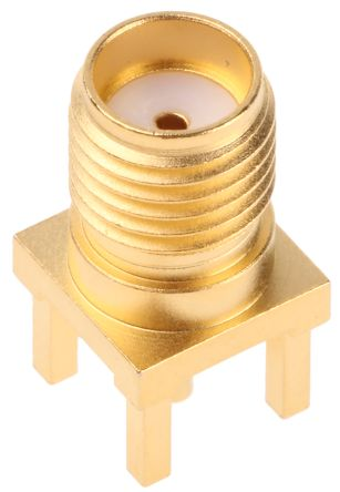 Telegartner Straight 50Ω PCB Mount Coaxial Connector, jack, Gold, Solder Termination