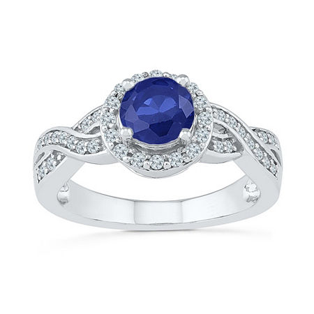 Womens 1/4 CT. T.W. Lab Created Blue Sapphire Sterling Silver Cocktail Ring, 7 , No Color Family
