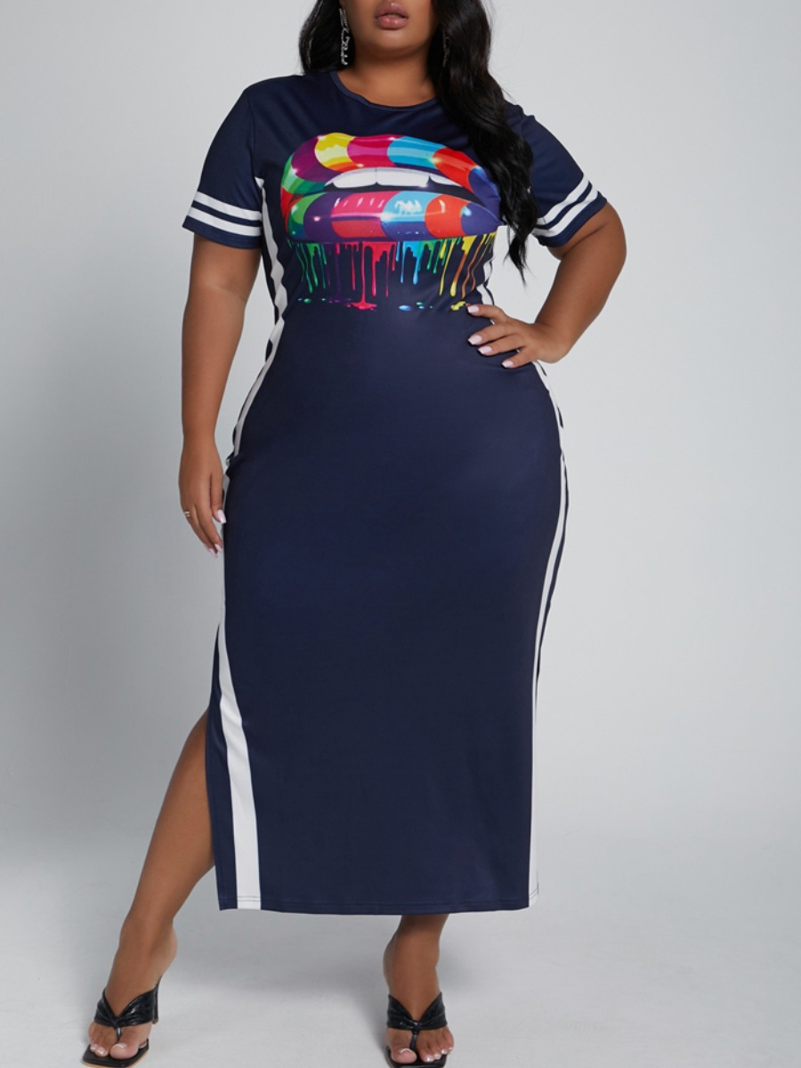 LW lovely Casual O Neck Lip Print Dark Blue Mid Calf Plus Size Dress