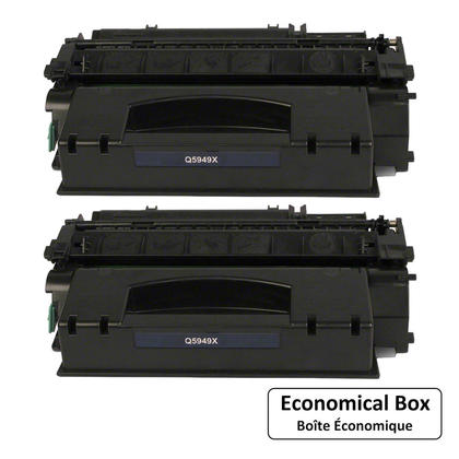 Compatible HP 49X Q5949X Black Toner Cartridge High Yield - Economical Box -2/Pack
