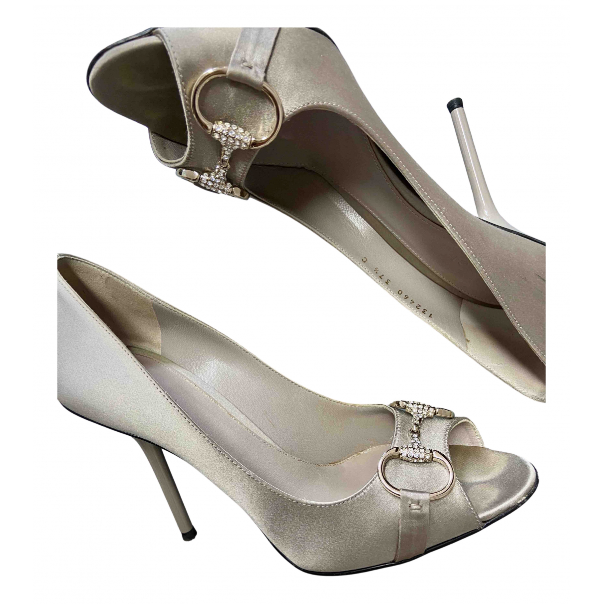 Gucci N Silver Cloth Heels for Women 37.5 EU