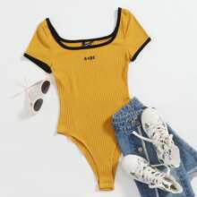 Contrast Trim Letter Embroidery Rib-knit Bodysuit