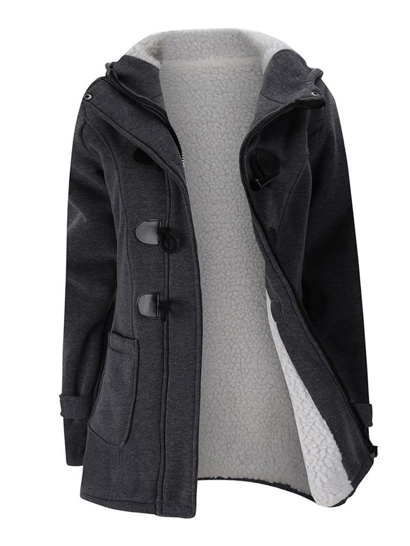 Ericdress Slim Zipper Pocket Mid-Length Cotton Padded Jacket