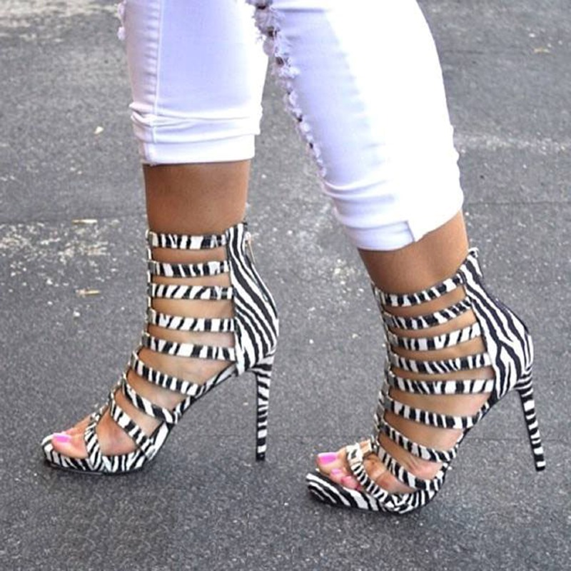 Ericdress Zebra Print Hollow-outs Stiletto Sandals