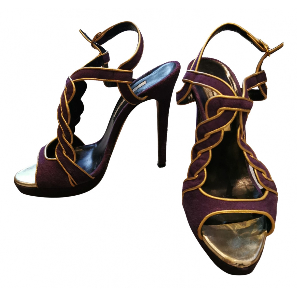 Oscar De La Renta N Purple Suede Sandals for Women 36.5 EU