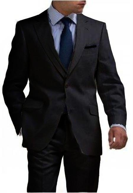 2 Button Tapered Cut Half Lined Flat Front Linen Suit Vented Black