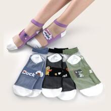 4pairs Cartoon Graphic Mesh Socks