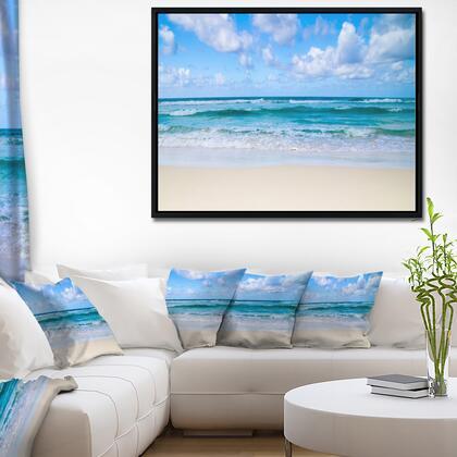 FL10380-42-32-FLB Serene Blue Tropical Beach - Large Seashore Framed Canvas Print -