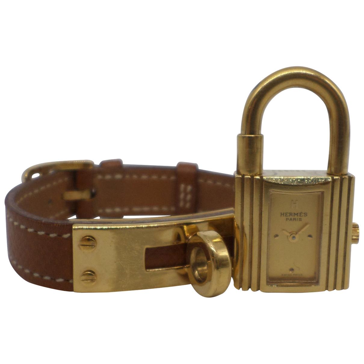 Hermes Kelly Uhr in  Braun Vergoldet