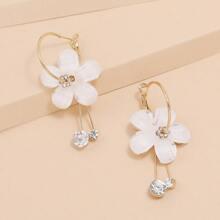 Flower & Rhinestone Decor Hoop Earrings