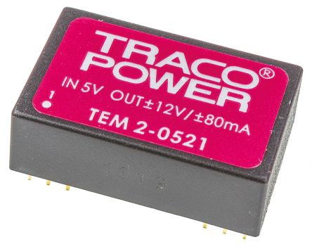 TRACOPOWER TEM 2 2W Isolated DC-DC Converter Through Hole, Voltage in 4.5 → 5.5 V dc, Voltage out ±12V dc