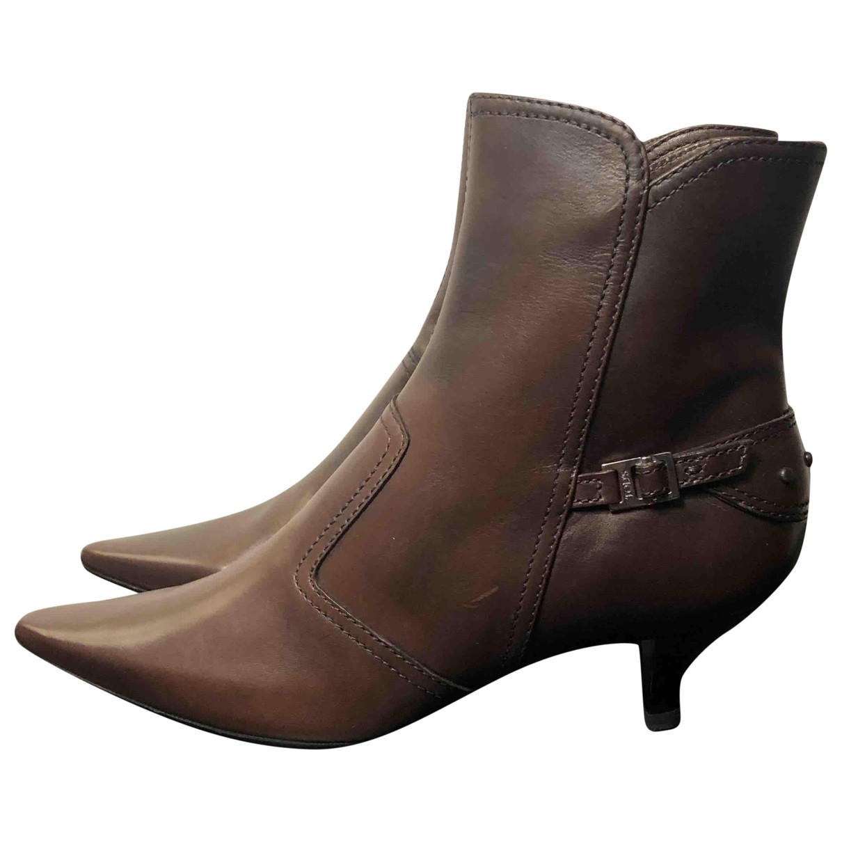 Tod's \N Brown Leather Ankle boots for Women 37 EU