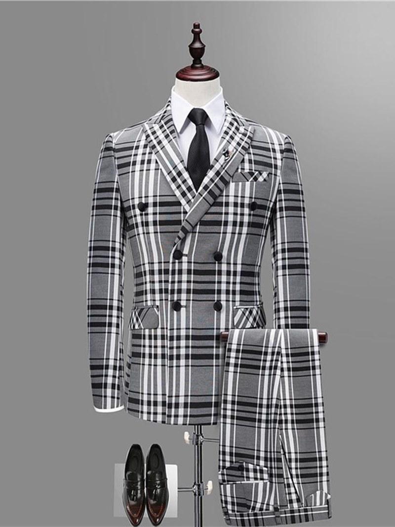 Ericdress Plaid Double Breasted Blazer Pants Vest Mens 3 Pieces Suits