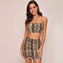 Snakeskin Print Crop Cami Top & Bodycon Skirt Set