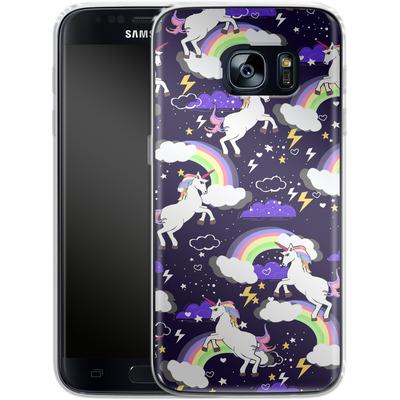 Samsung Galaxy S7 Silikon Handyhuelle - Unicorn Blue von Mukta Lata Barua