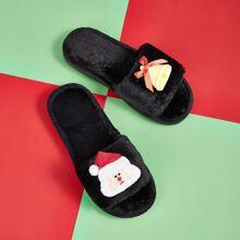 Zapatos mullidos de punta abierta con diseño de navidad