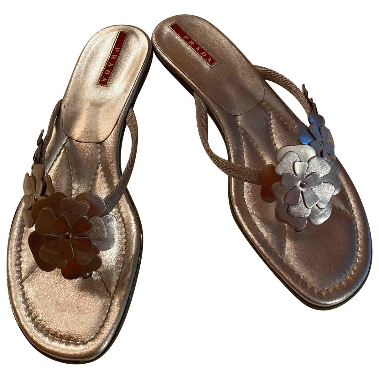 Prada \N Sandalen in  Silber Leder