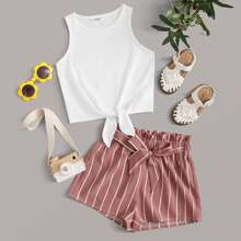 Girls Knotted Front Top & Belted Striped Shorts Set