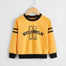 Sweatshirt mit Buchstaben Grafik und Kontrast Saum