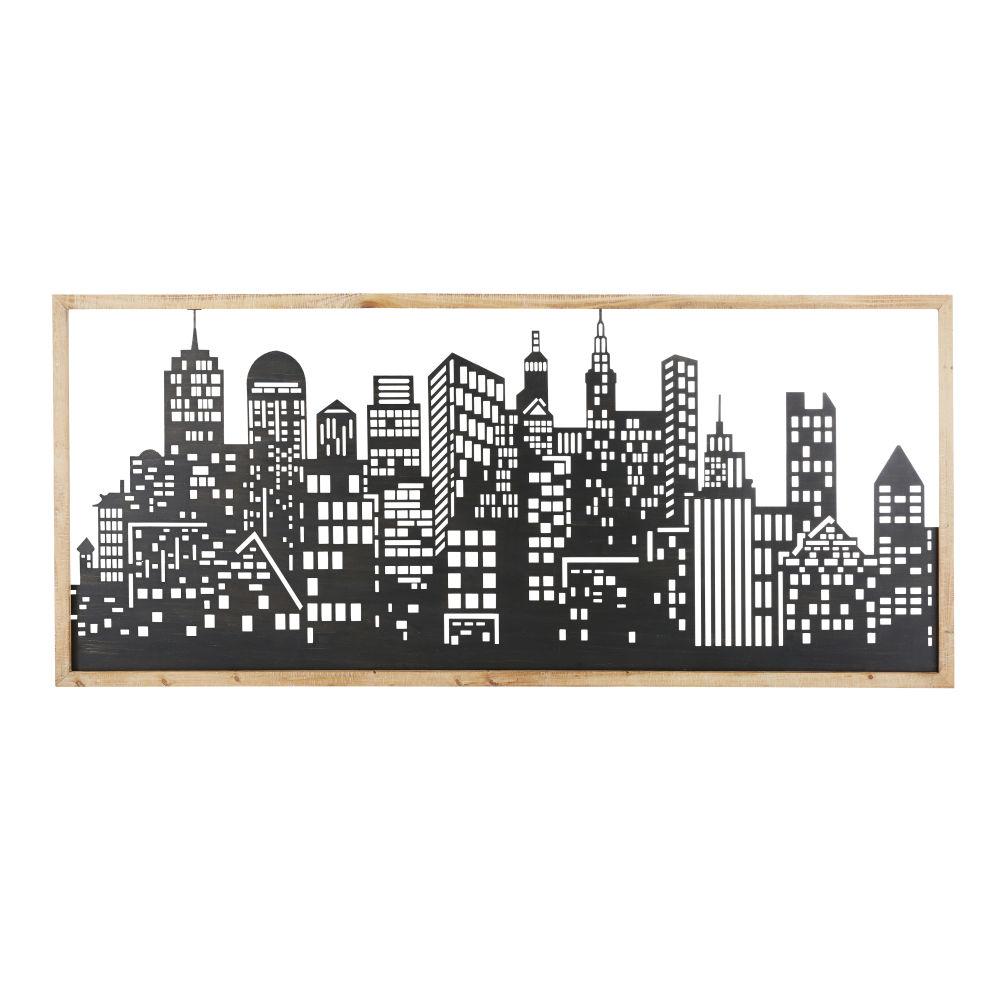 Wanddeko New York aus schwarzem Metall und Tannenholz 183x79