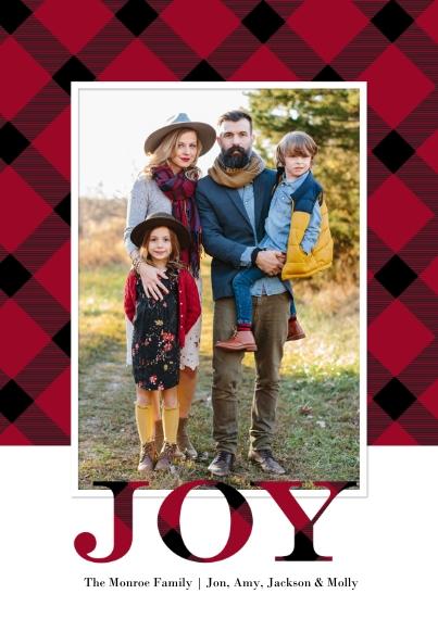 Christmas Photo Cards 5x7 Cards, Premium Cardstock 120lb, Card & Stationery -Christmas Joy Plaid by Tumbalina