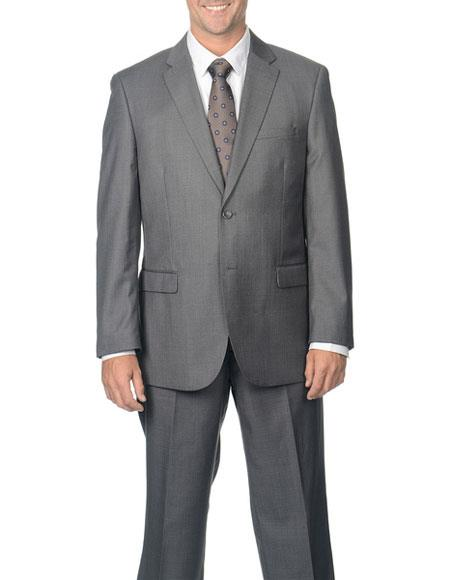Caravelli Mens Single Breasted DoubleVent Grey NotchLapel 2Button Suit