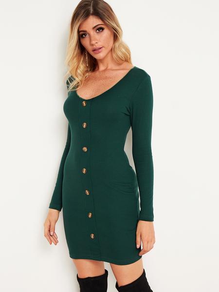 Yoins Green Button Design Deep V Neck Bodycon Dresses