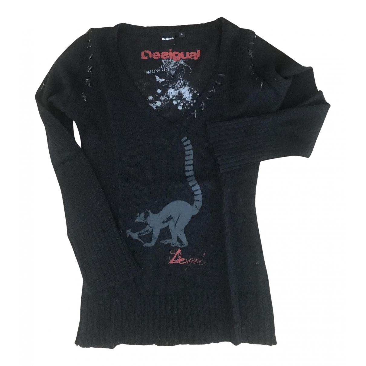 Desigual - Pull   pour femme en laine - noir