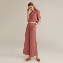PREMIUM Notched Collar Single Breasted Blouse & Wide Leg Pants Set
