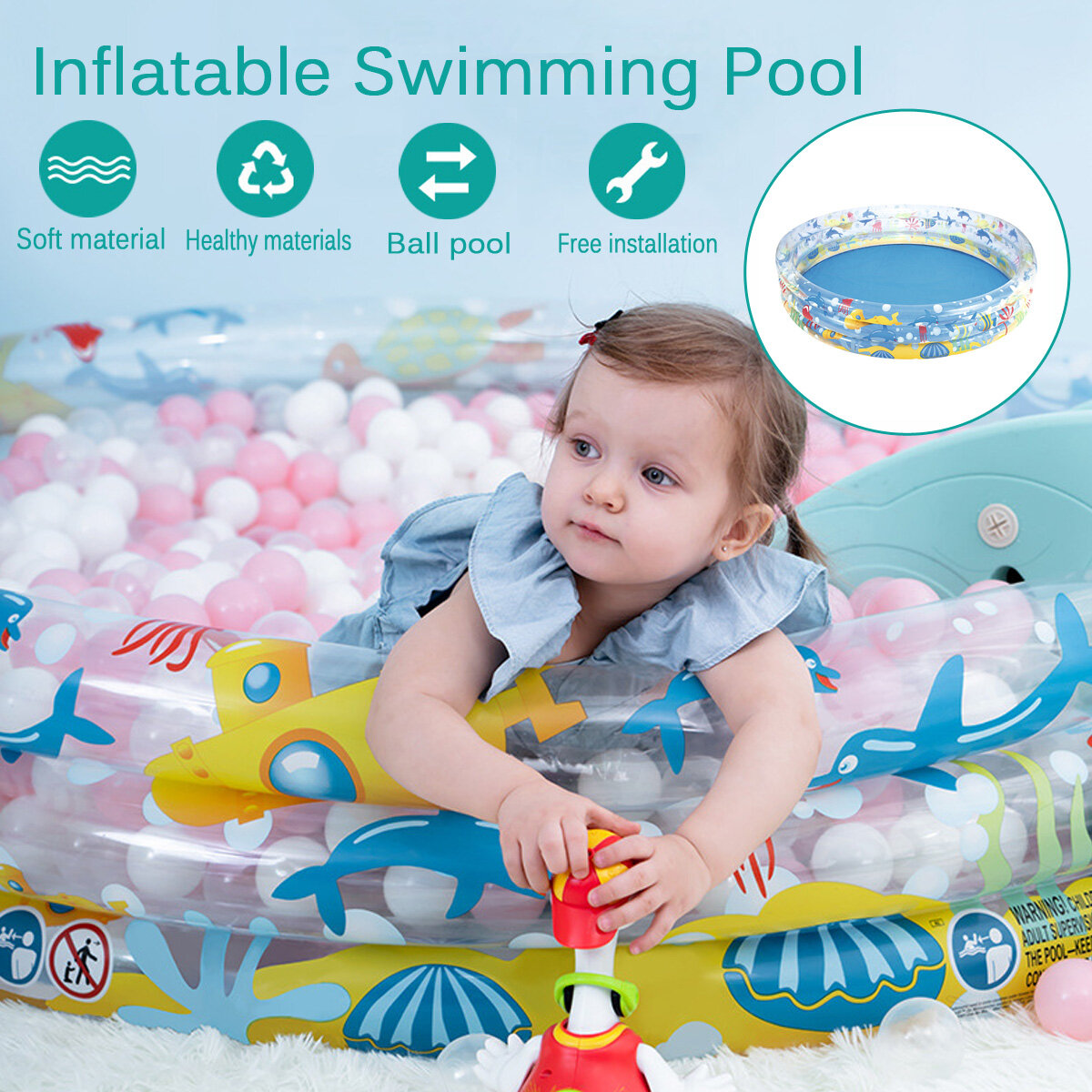 Summer Inflatable Children's Pool Swimming Center Water Park Foldable Pools Spas
