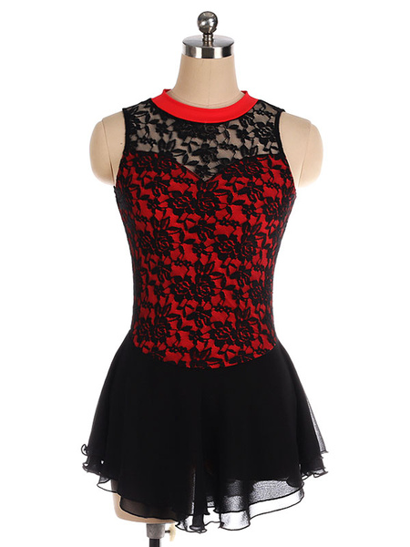 Milanoo Skating Dress Black Polyester Lace Dance Costumes