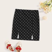 Girls Zipper Side M-slit Hem Dot Skirt